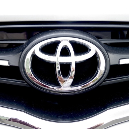toyota sign in silver on car