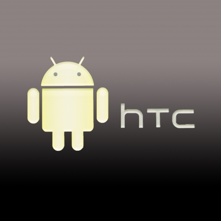 Green android caricature htc sign on black gray background Editorial