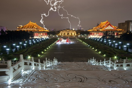broad view of chiang kai shek memorial hall with lightning at night photo