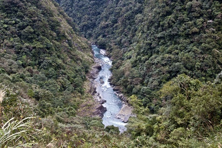 scenery showing of stream running through mountains seen from above in Taiwan photo