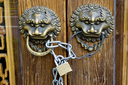 double lion knobs on an old wooden gate Stock Photo - 13069332