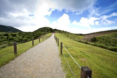 gravel path through the mountain in Taiwan