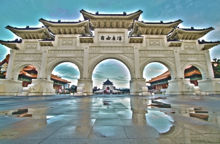 beautiful view of chiang kai shek memorial hall with blue sky the hdr image