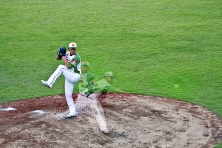 Tianmu, Taiwan - September 1,2012 : Lin, a Sinon Bulls pitcher of CPBL, pitch for the Chinese Professional Baseball League game on September 1, 2012 at Tianmu Stadium, Taipei, Taiwan.