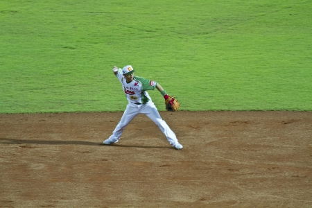 Tianmu, Taiwan - September 1,2012 : Tseng, a Sinon Bulls player of CPBL, throw the baseball to first base for the Chinese Professional Baseball League game on September 1, 2012 at Tianmu Stadium, Taipei, Taiwan.