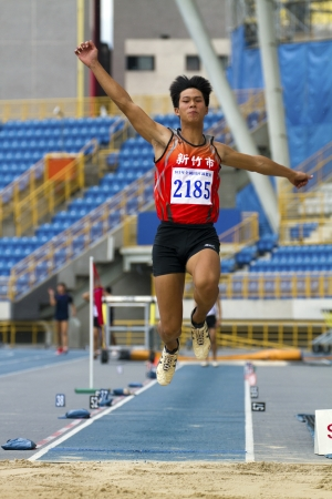 TAIPEI,TAIWAN -October 26,2012:athlete in the all-Taiwan national track and field games in Taipei stadium on October 26,2012 in Taipei,Taiwan
