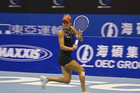 oct 31: TAIPEI, TAIWAN-octubre 31,2012: AUS Monique Adamczak jugador en el 2012 la Copa OEC Juego Taipei WTA Tenis Ladies Open en Taipei Arena en octubre 31,2012 en Taipei, Taiwan