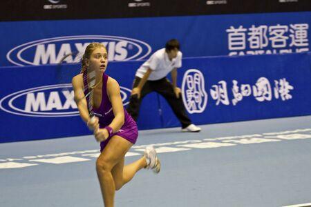 oct 31: TAIPEI, TAIWAN-octubre 31,2012: RUS jugador Irina Khromacheva en 2012 OEC Copa Juego Taipei WTA Tenis Ladies Open en Taipei Arena en octubre 31,2012 en Taipei, Taiwan