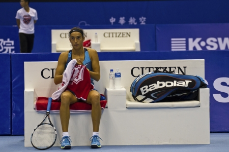 oct 31: TAIPEI, TAIWAN-octubre 31,2012: FRA jugador Caroline Garcia en 2012 OEC Copa Juego Taipei WTA Tenis Ladies Open en Taipei Arena en octubre 31,2012 en Taipei, Taiwan Editorial