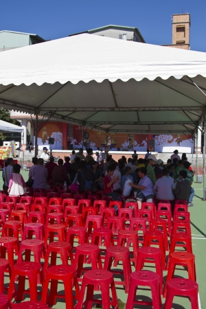 NEW TAIPEI CITY,TAIWAN -November 3,2012:audience in LuZhou elementary School for celebrating the Taiwanese Traditional Art Festival on  November 3,2012 in New Taipei City,Taiwan .
