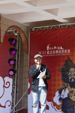 NEW TAIPEI CITY,TAIWAN -November 3,2012:performance host in LuZhou elementary School for celebrating the Taiwanese Traditional Art Festival  on November 3,2012 in New Taipei City,Taiwan .