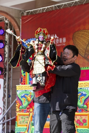 NEW TAIPEI CITY,TAIWAN -November 3,2012:chinese hand puppet in LuZhou elementary School for celebrating the Taiwanese Traditional Art Festival  on November 3,2012 in New Taipei City,Taiwan .