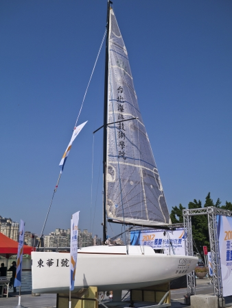 TAIPEI,TAIWAN -November 10,2012:Keel Boat Sailing on river in 2012 Taipei Keel Boat Competition in Dadaocheng Wharf on November 10,2012 in Taipei,Taiwan