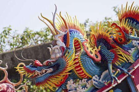 festival scales: dragon art sculpture of temple