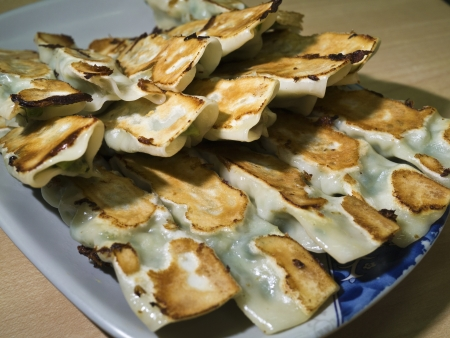 group of fried dumplings  with white light photo