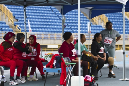 senior olympics: TAIPEI,TAIWAN -November 6,2012:rest area of athletes in 17th ASia Master Athletics Championships in Taipei stadium on November 6,2012 in Taipei,Taiwan Editorial