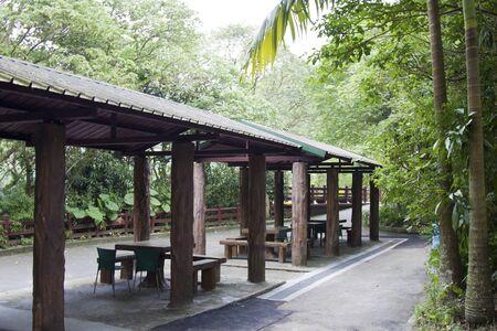 Landscaped Formal Garden. Park with pavilion.
