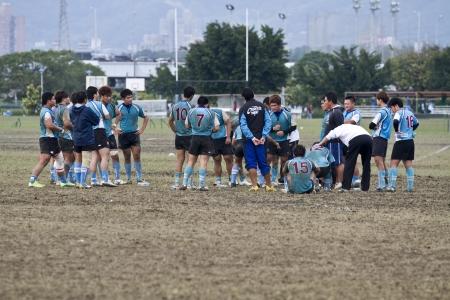 TAIPEI,TAIWAN - December 13 : unidentified rugby football players in the All-Taiwan rugby Football Competition in Taipei Bailing Rugby  Fields on December 13,2012 in Taipei,Taiwan Stock Photo - 17051534