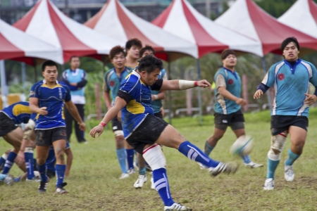 TAIPEI,TAIWAN - December 13 : unidentified rugby football players in the All-Taiwan rugby Football Competition in Taipei Bailing Rugby  Fields on December 13,2012 in Taipei,Taiwan Stock Photo - 17051508