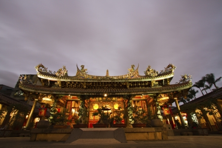scenic of Bao An Taiwanese temple at night Stock Photo