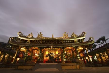 scenic of Bao An Taiwanese temple at night Stockfoto