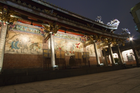 scenic of Bao An Taiwanese temple at night photo