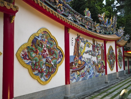 taiwanese traditional wall sculpture in bao an temple Stock Photo - 17244195