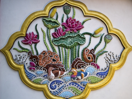 taiwanese traditional wall sculpture in bao an temple Stock Photo - 17244614