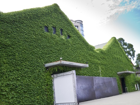 City street with green house with ivies daytime in Huashan Creative Park, Taipei, Taiwan, Asia. photo