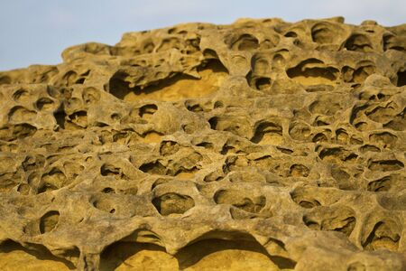 geological formation: Geological formation of mushroom rock in Yehliu Geoparl in Taiwan Stock Photo