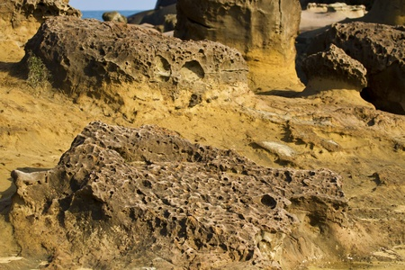 geological formation: Geological formation of mushroom rock in Yehliu Geoparl in Taiwan Stock Photo