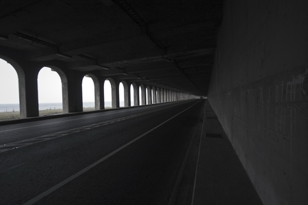 view of road tunnel along seaside,Taiwan Stock Photo - 17736017