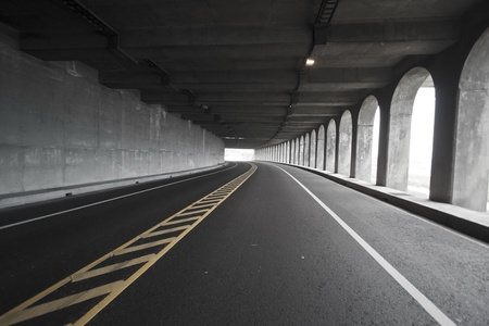 view of road tunnel along seaside,Taiwan Stock Photo - 17736019