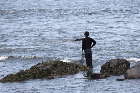 fisherman catching fish at sea,Taiwan Stock Photo - 17737193