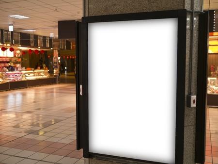 blank billboard in trainstation hall