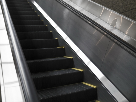 Empty escalator stairs in the Terminal ( underground Mall ) Imagens