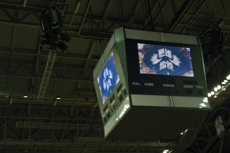 display TV on ceiling at basketball court indoor