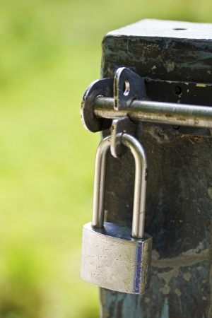 hasp: lock and hasp on wood Stock Photo