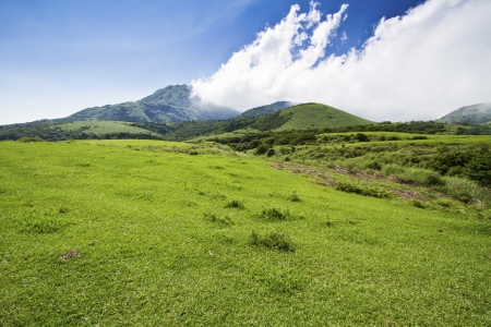 green mountain with blue cloudy sky located in summer Taipei