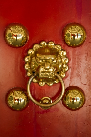 old lion door knocker on red door photo