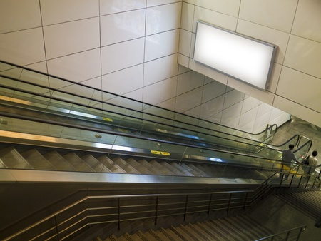 billboard blank: blank billboard in train station indoors