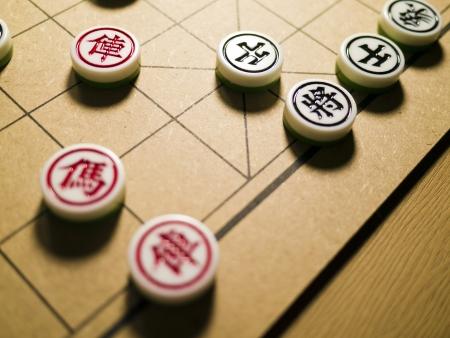 중국 체스와 보드의 근접 촬영