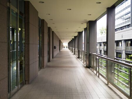 empty corridor in the modern city mall building photo