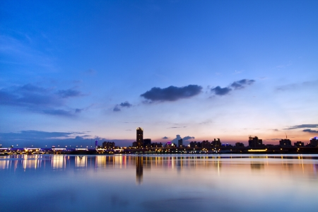beautiful landscape of Taipei city in twilight