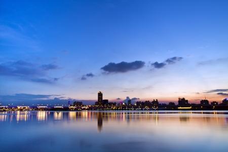 beautiful landscape of Taipei city in twilight