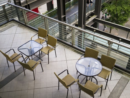 Chairs and table in the modern cafe