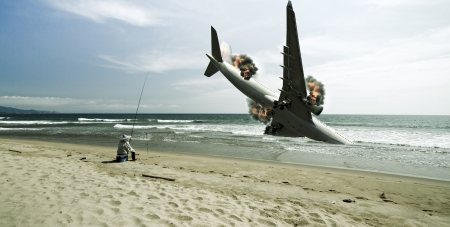fisherman witness the airplane crashed down into the beach ocean