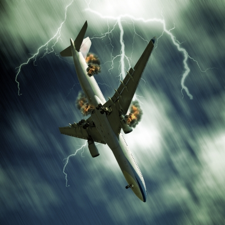 Passenger airplane falling from sky against stormy bolt cloudscape Stock Photo