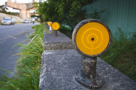 Reflector on the side of the road Stock Photo - 24389028