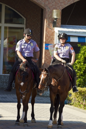 constabulary: New Taipei City , Taiwan : August 11 : the mounted police of Taiwan(R.O.C.) have a regular patrol in Fishers wharf in Tansui , August 11 , 2013 in New Taipei City,Taiwan